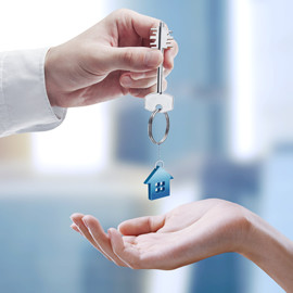 image of a person receiving keys for the renters section